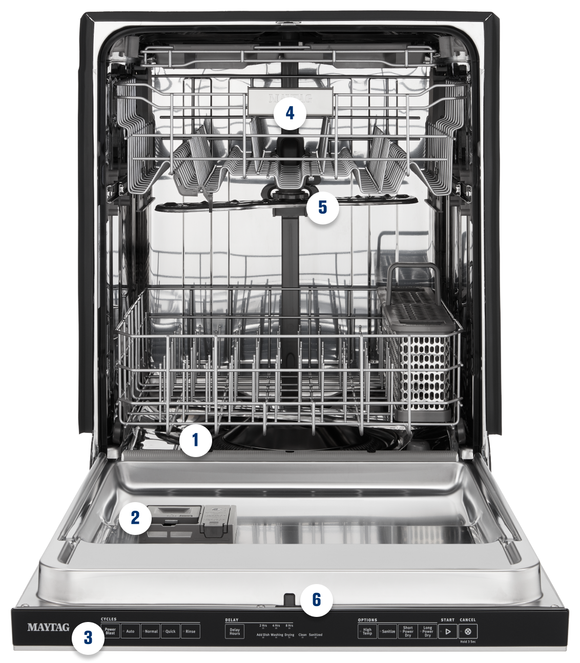 Detailed image of the inside of a dishwasher