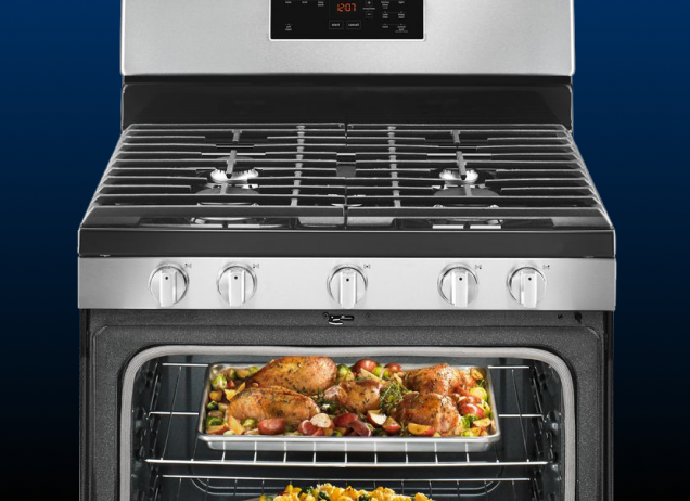 A Maytag stainless steel gas range.