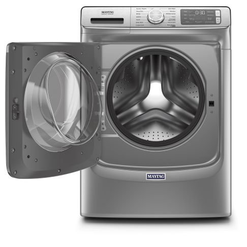 Maytag® front load washing machine with the door open