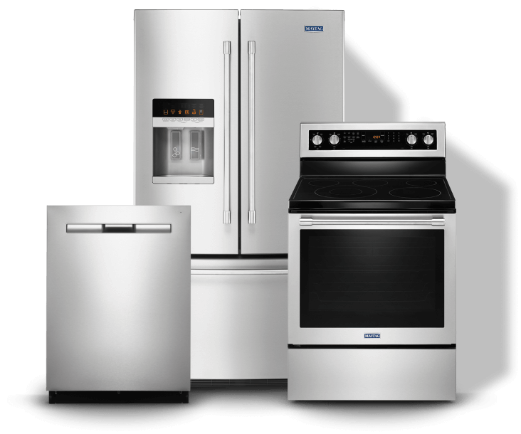 A dishwasher, french door refrigerator and electric range
