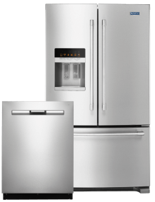 A dishwasher and a french door refrigerator.