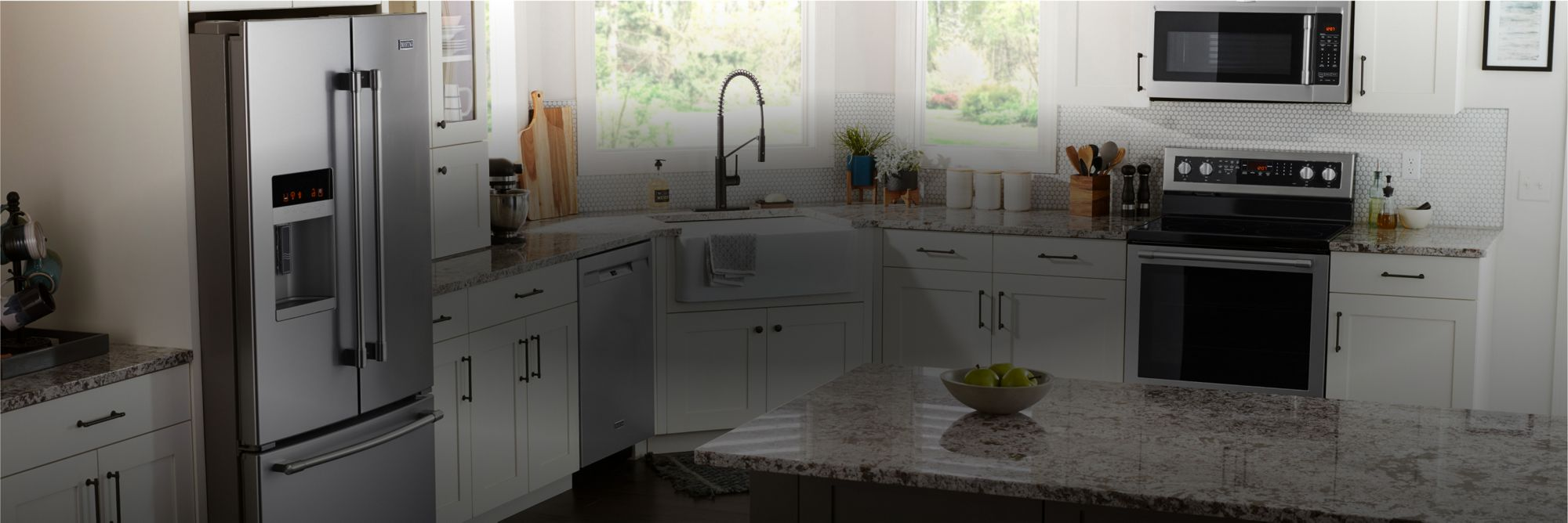 A kitchen outfitted with Maytag® appliances.