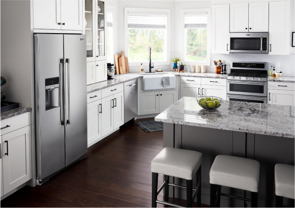 A Maytag® kitchen appliance suite.