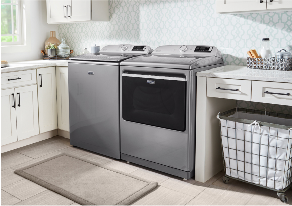 Clothes tumbling in a Maytag® dryer.