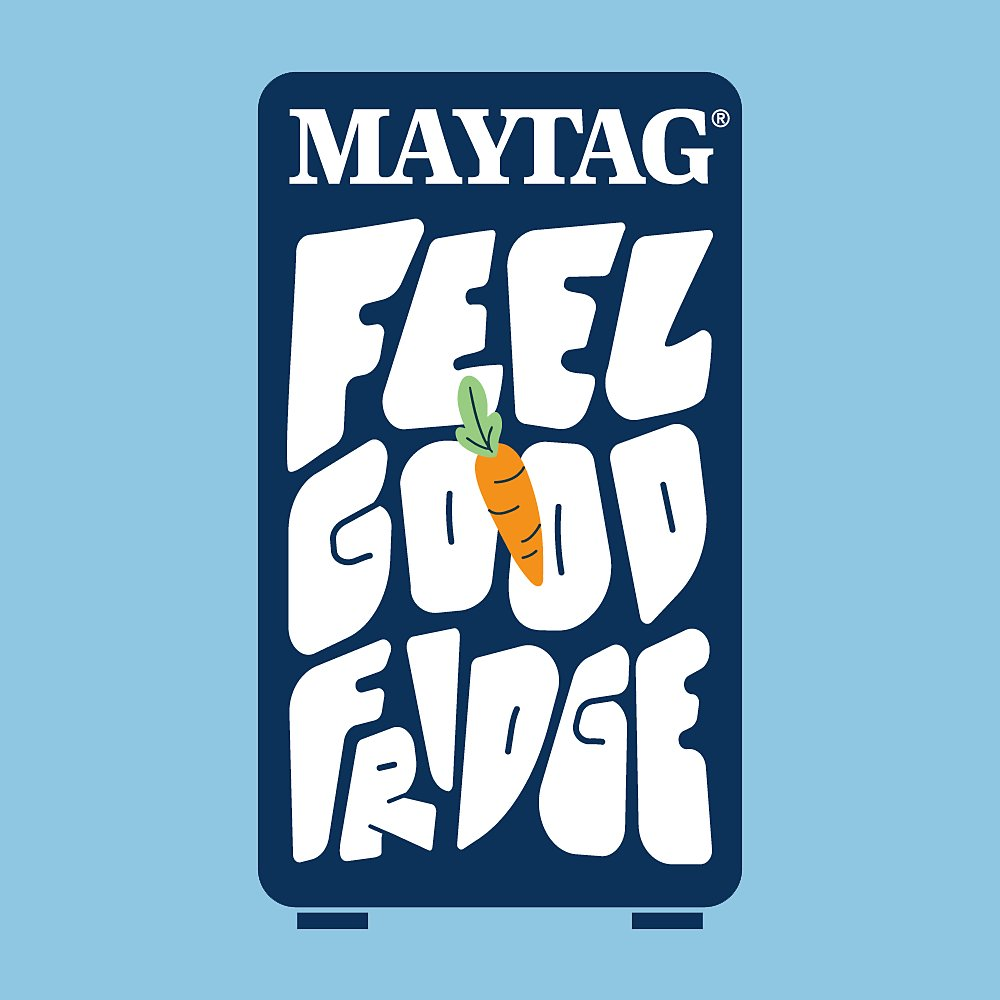 """Maytag Feel Good Fridge Logo, a navy blue refrigerator on a light blue background with white text that reads """"Maytag Feel Good Frdige"""" and has an orange carrot sticker on it"""