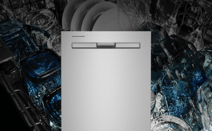 Maytag® dishwasher in a white kitchen.