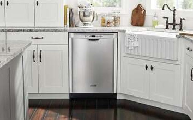 Maytag® dishwasher in a white kitchen.