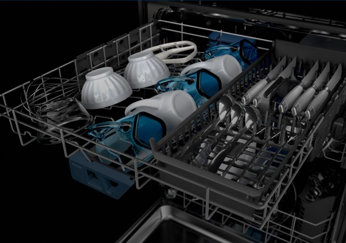 The 3rd Level Rack of a Maytag® dishwasher filled with mugs and bowls