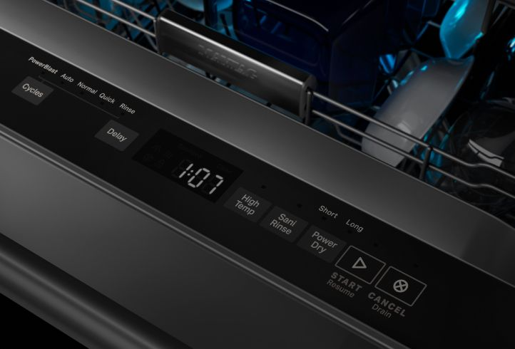 The Maytag® PowerDry option on a dishwasher control panel