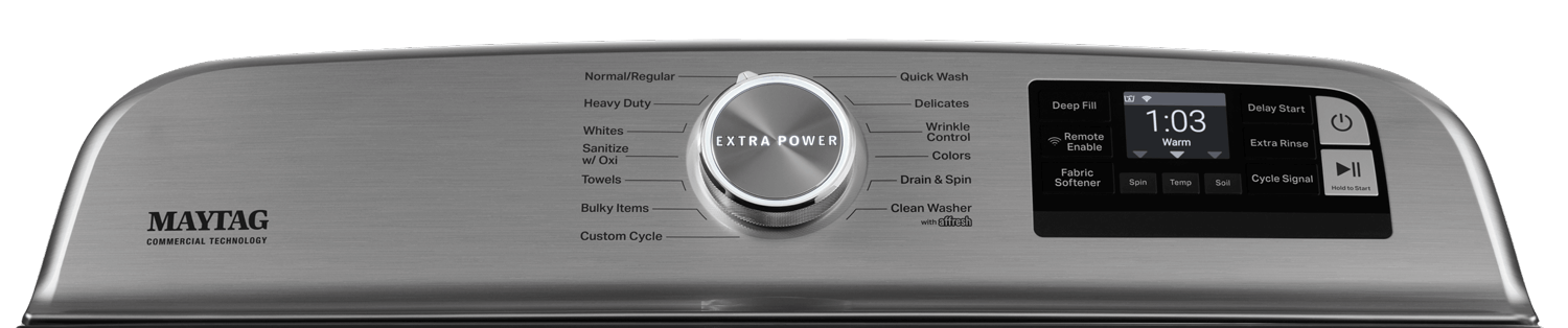 Close up picture of top load washer console with Extra Power button