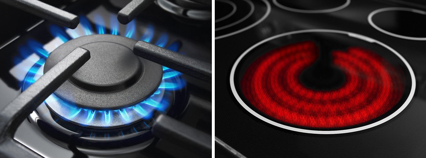 A gas burner and electric element side by side