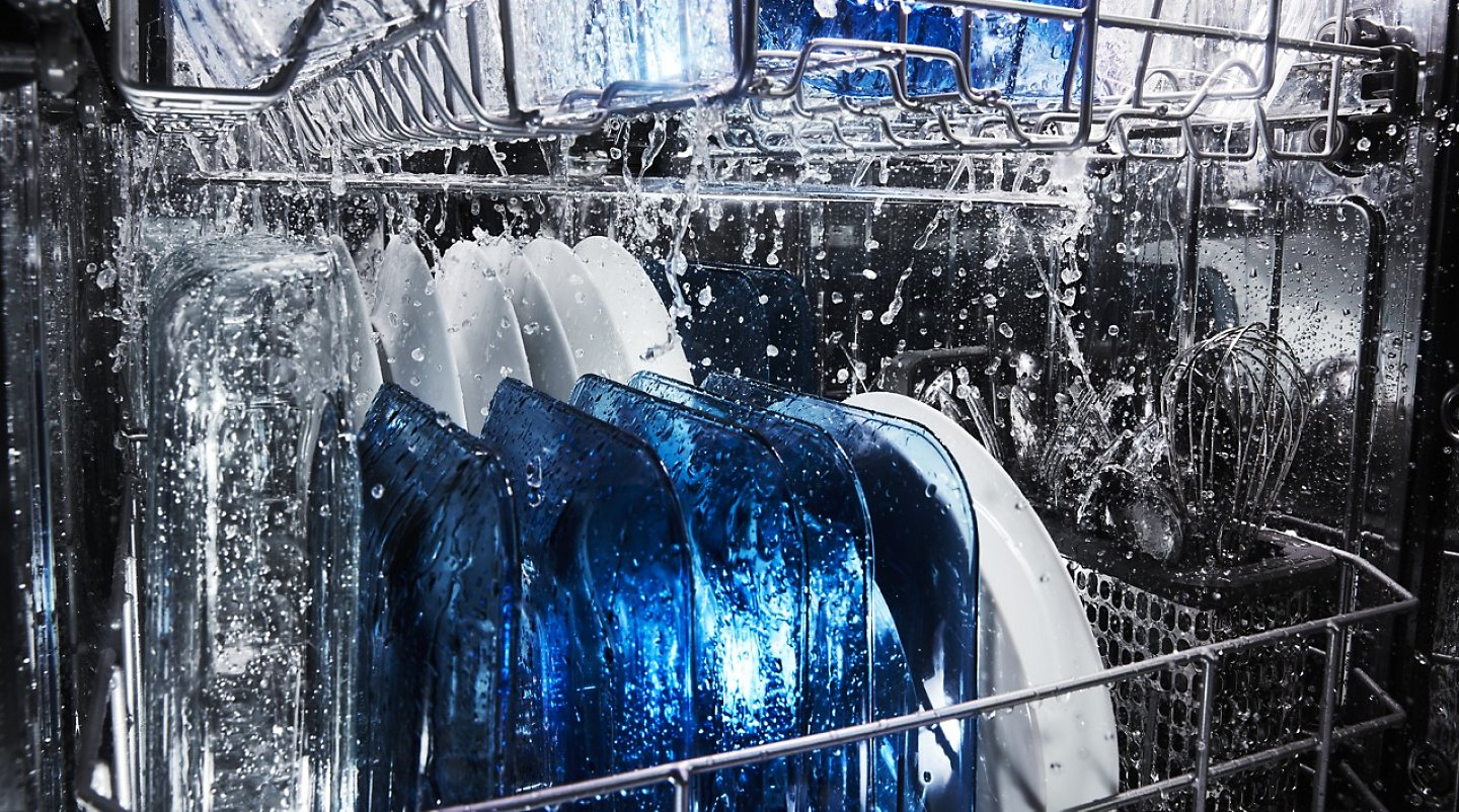 Water shooting throughout the inside of a Maytag® dishwasher