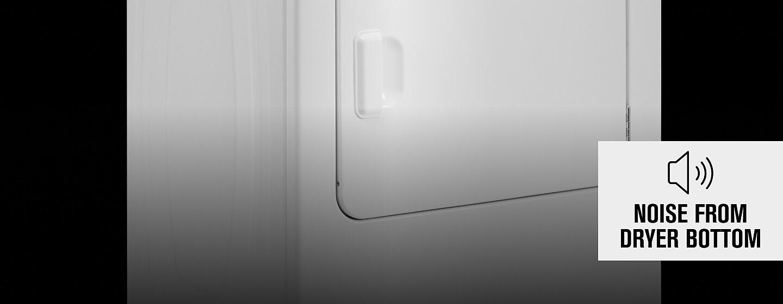 Bottom-front half of white Maytag® dryer.