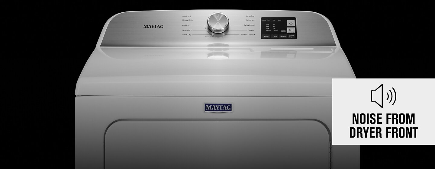Top-front half of white Maytag® dryer.