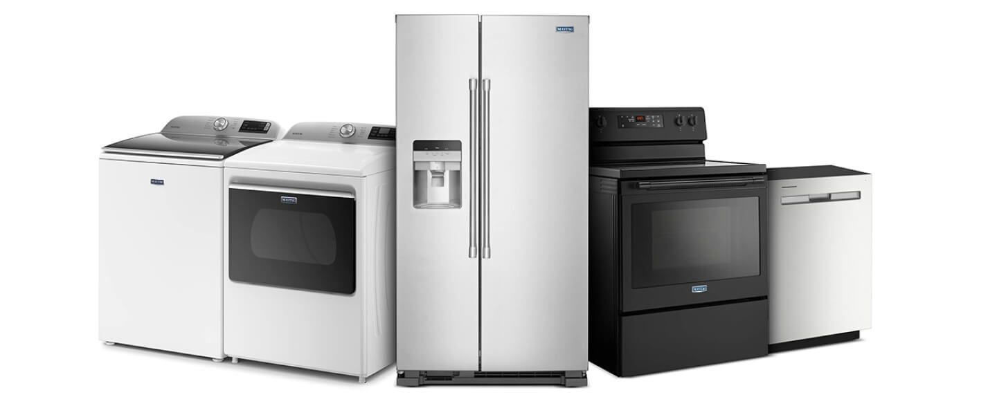 Collection of Maytag® appliances in a variety of colors and finishes
