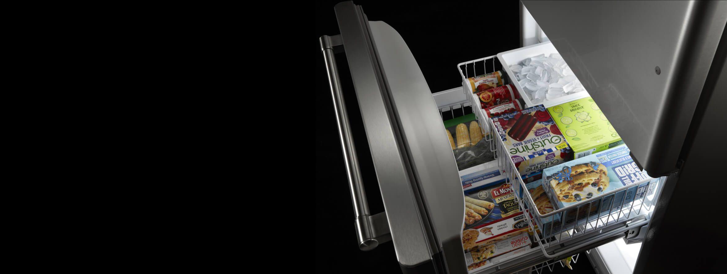 Open bottom drawer freezer