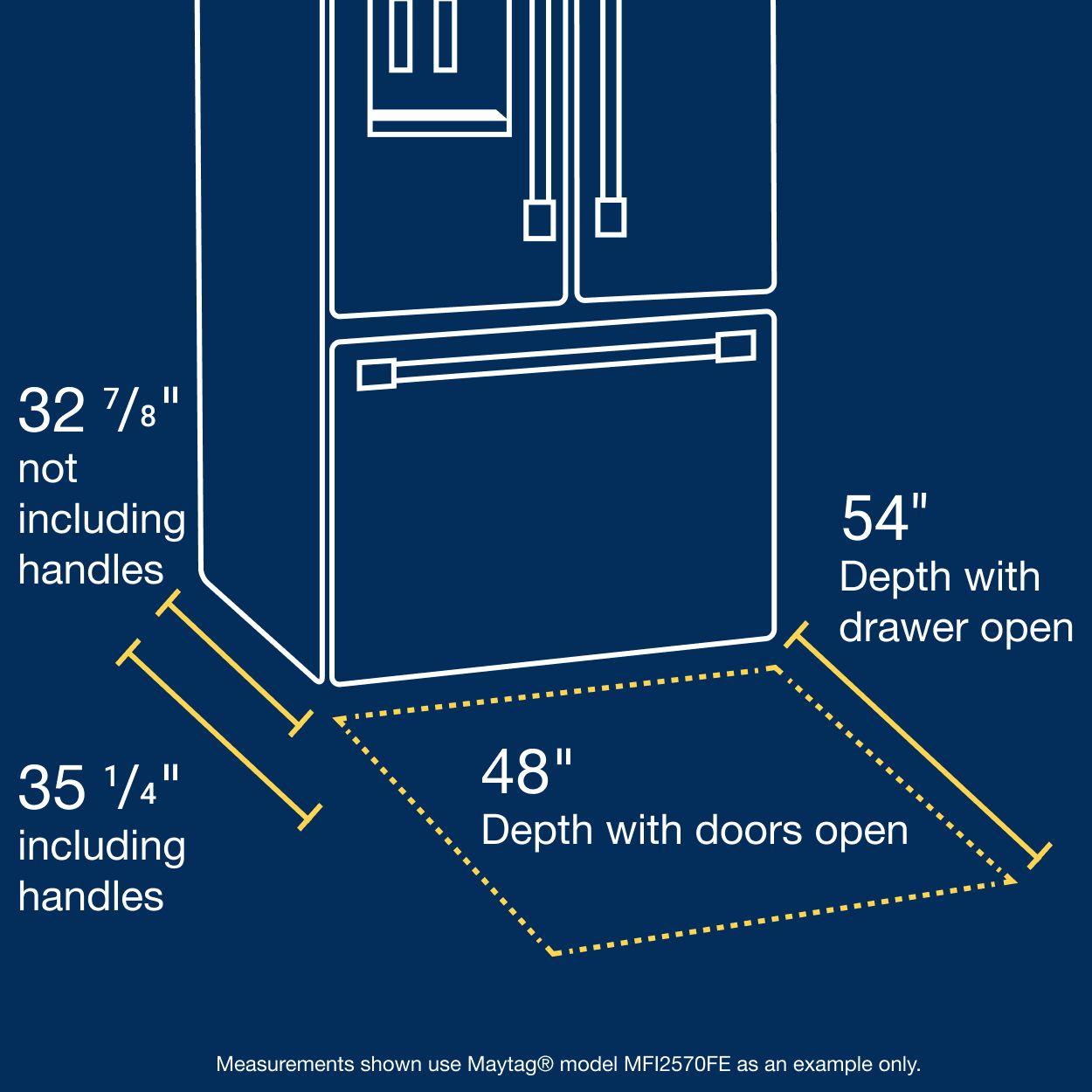 Refrigerator depth measurements