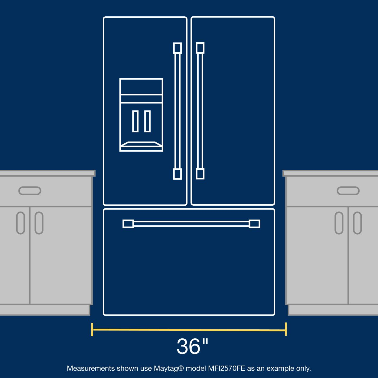 Measuring refrigerator width between cabinets