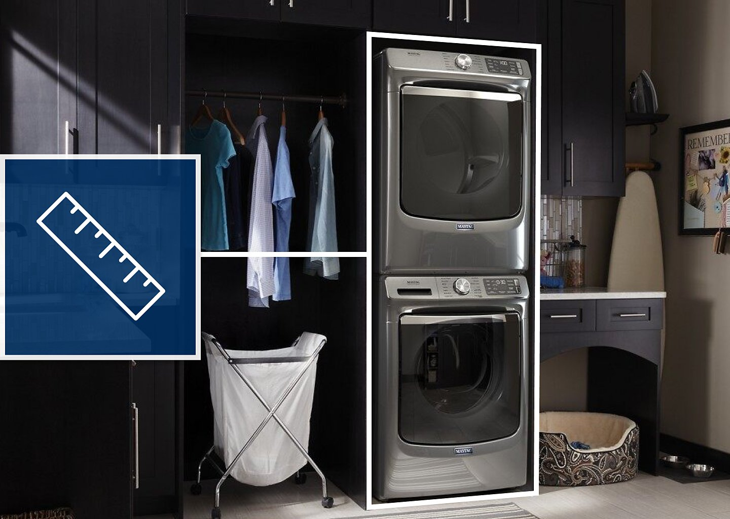 Stacked washer and dryer in laundry room with ruler icon