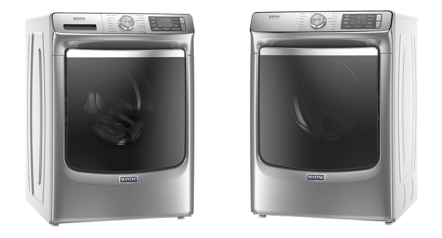 Side by side image of Maytag® washer and dryer