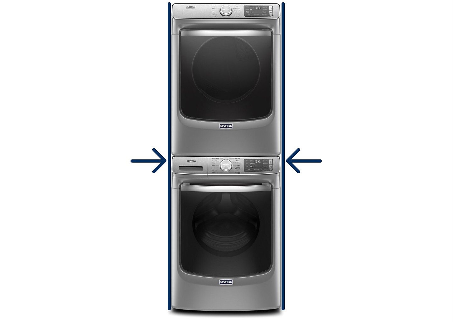 Stacked Maytag® washer and dryer with horizontal arrow icons