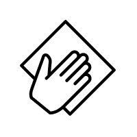 Hand holding towel.