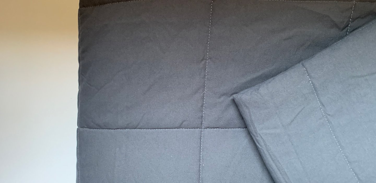 Partially folded weighted blanket.