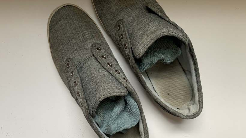 Shoes stuffed with rags