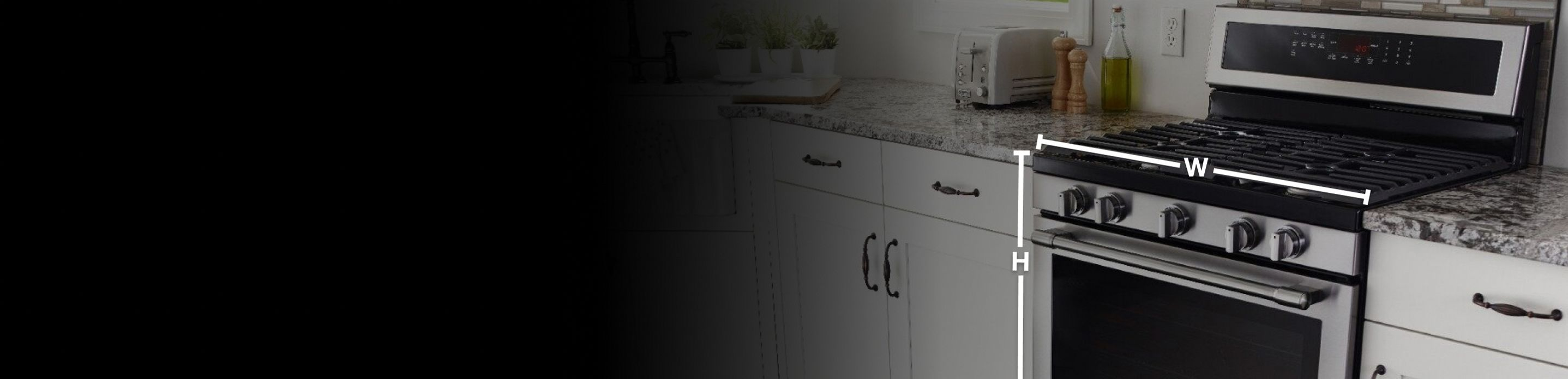 Width and height of a range in a kitchen