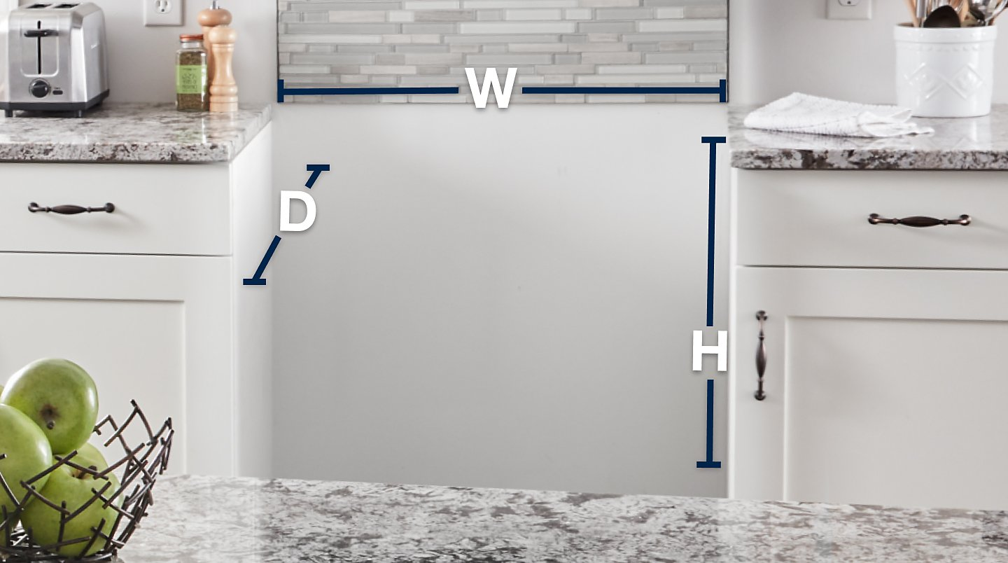 Empty range cutout with width, depth and height lines