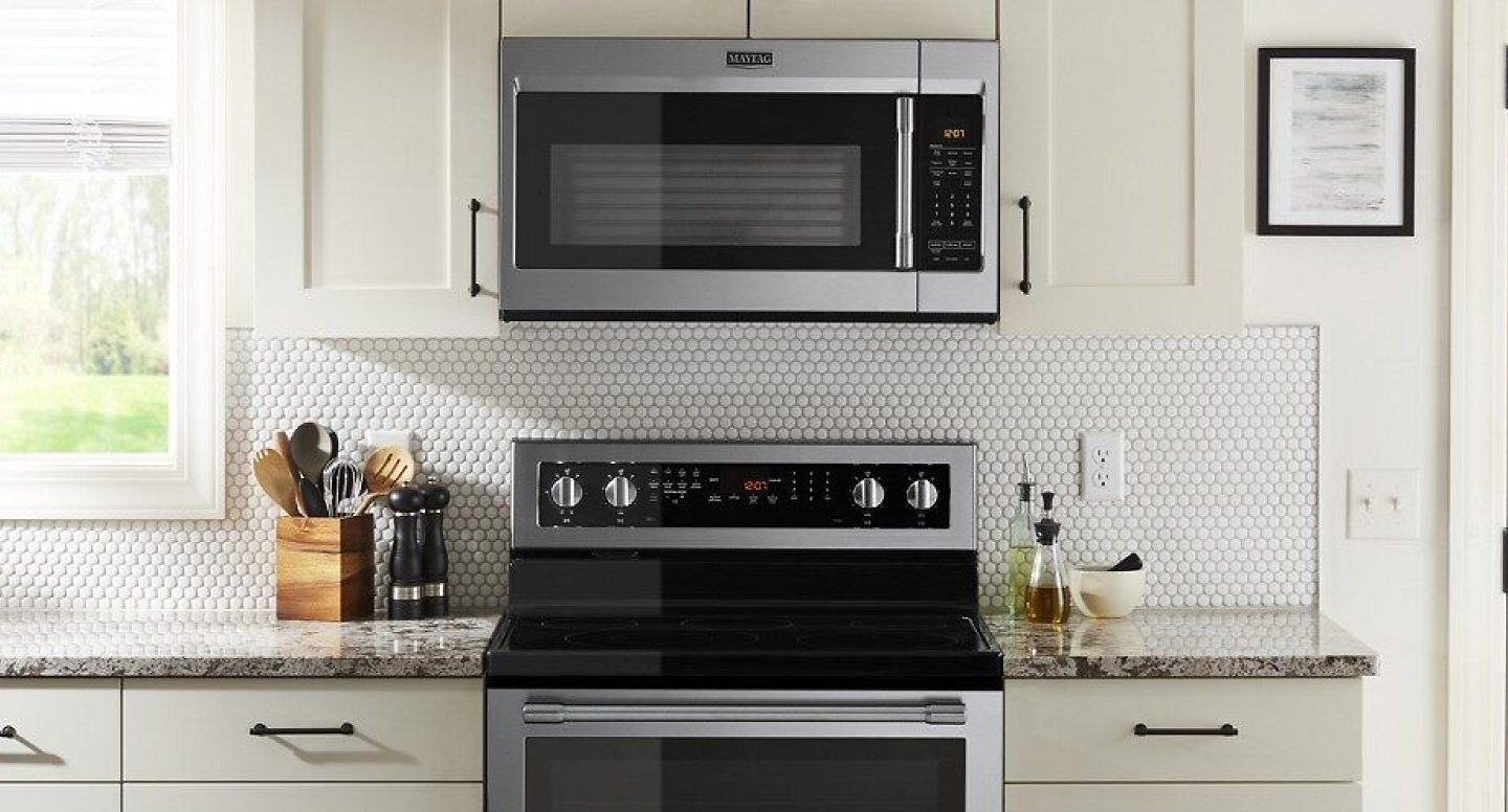Stainless steel, over-the-range microwave