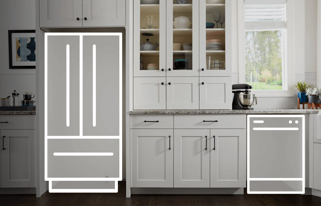 Empty cutout with refrigerator and dishwasher outline
