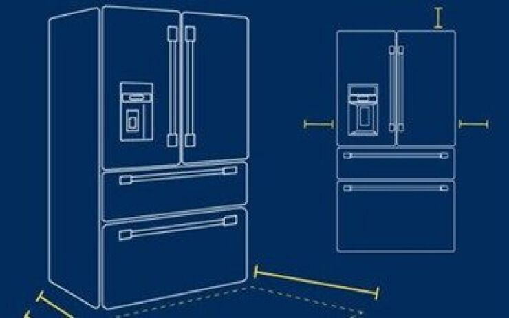 Refrigerator drawings that look like blueprints.