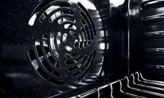 Fan inside a convection oven.