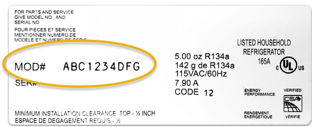 Once you find your rectangular product tag, your model number is located on the left, middle side of the tag. Note: the model number is different from the serial number.