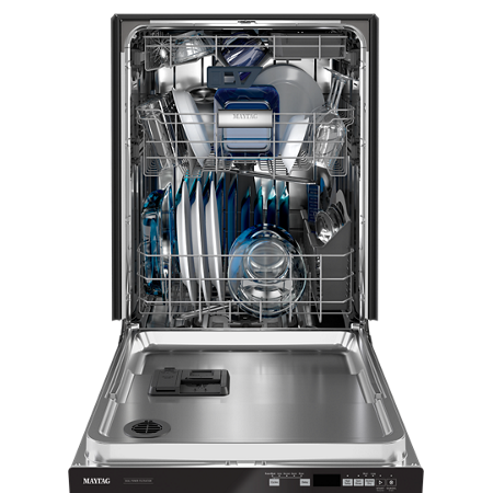 Open Maytag® dishwasher full of dishes