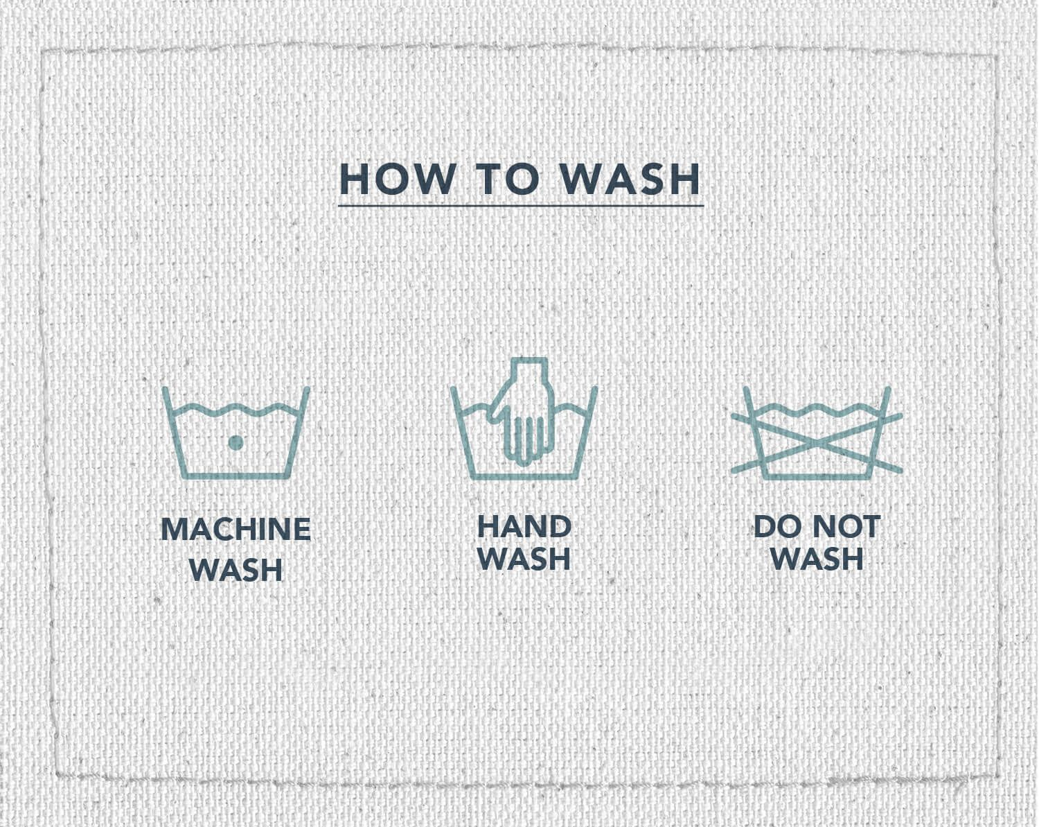 An infographic of three laundry care symbols, indicating what symbol means machine wash, hand wash, and do not wash