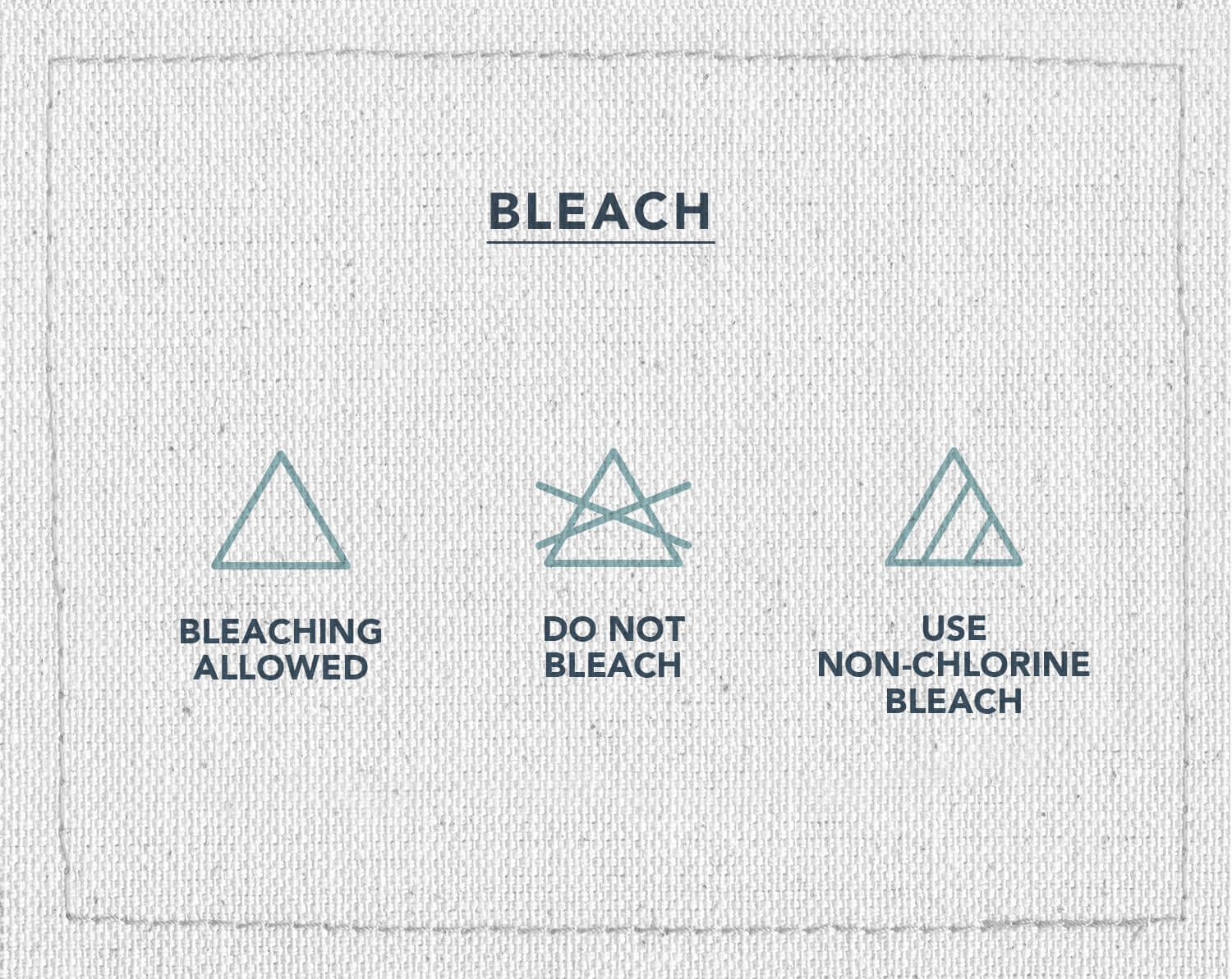 An infographic of three laundry care symbols, indicating if you can bleach that article of clothing or not, bleaching allowed, do not bleach, or use non-chlorine bleach