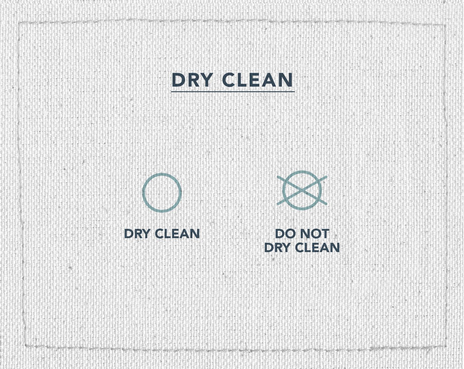 An infographic of two laundry care symbols indicating if you can dry clean your clothes or not, dry clean and do not dry clean