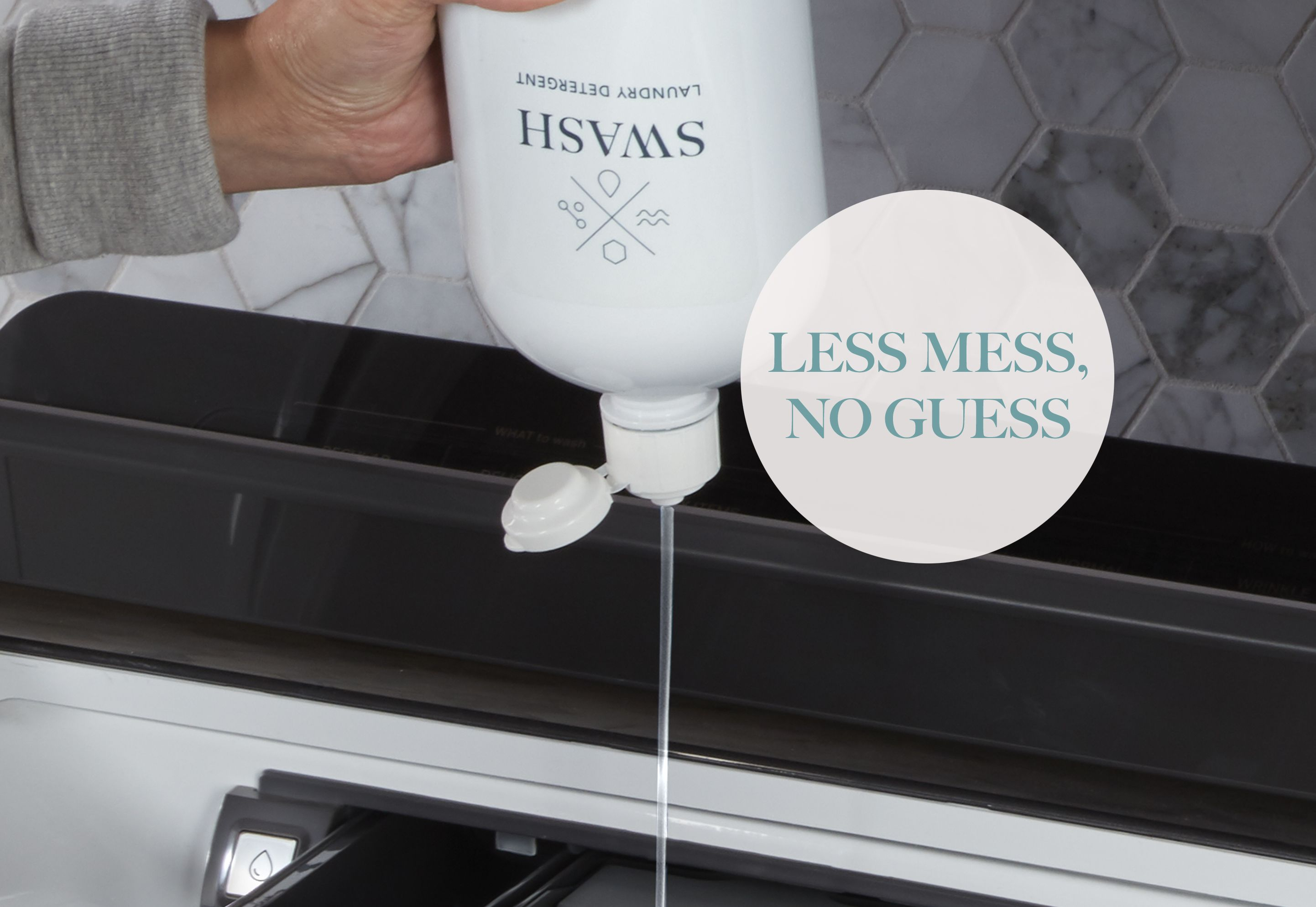 Woman dispensing Swash Pure Linen laundry detergent into her washing machine
