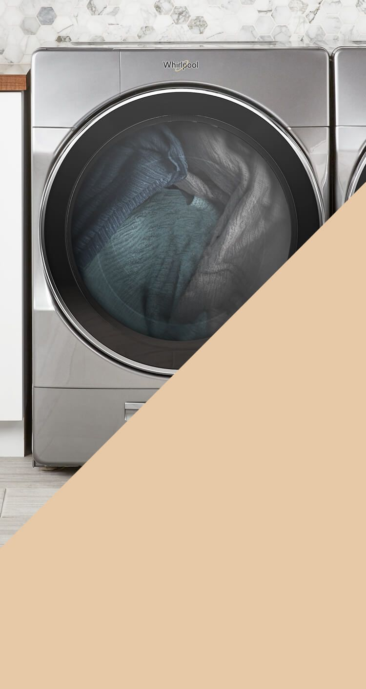 A metallic gray front-load washing machine is one of today's washers that Swash laundry detergent is designed to work with to help fight stains.