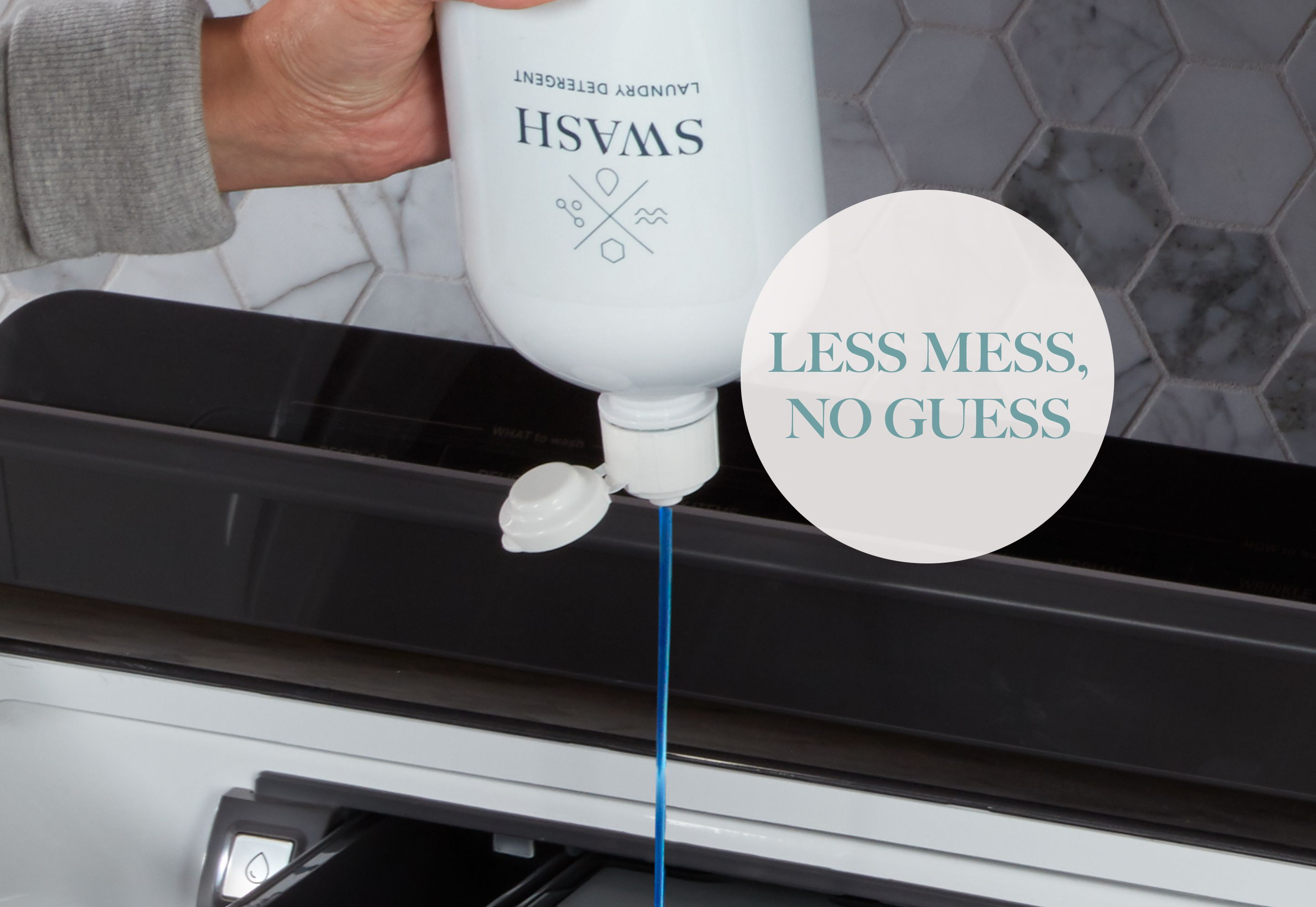 Woman dispensing Swash Simply Sunrise laundry detergent into her washing machine