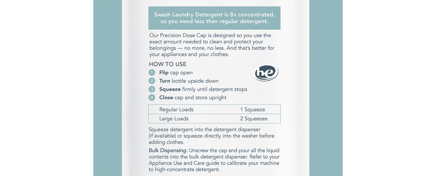 A photo of the instructions on the back of a Swash bottle.