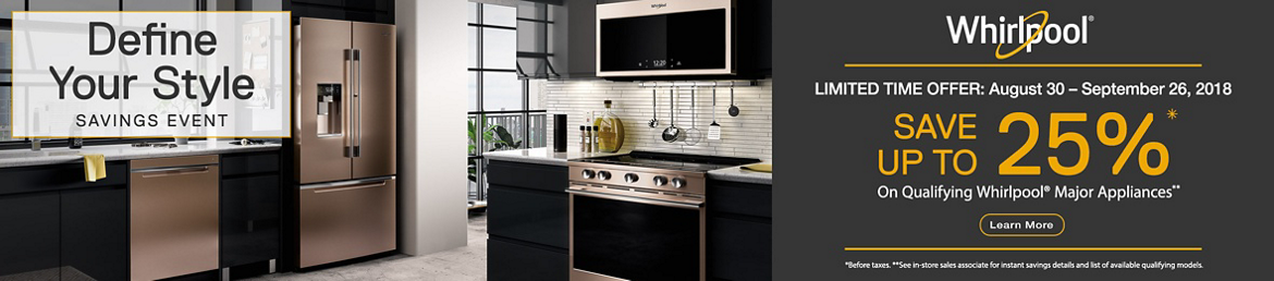 Save up to 25% off qualifying Whirlpool Major Appliances