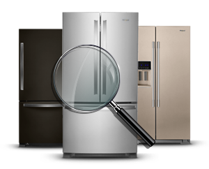 Black, bronze and stainless steel refrigerators from Whirlpool.