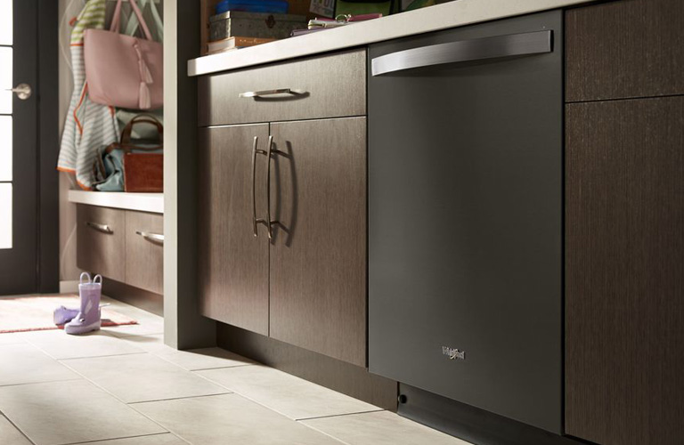 Whirlpool dishwasher in kitchen suit