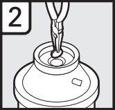 2. Retirez le bouchon d'obturation à l'aide d'une pince à pointe biseautée