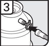3. Fixez le tuyau d'évacuation sur l'entrée du raccord de broyeur à déchets à l'aide de la grosse bride de tuyau d'évacuation (fournie). À l'aide d'une pince, serrez la bride pour l'ouvrir et la mettre en position.