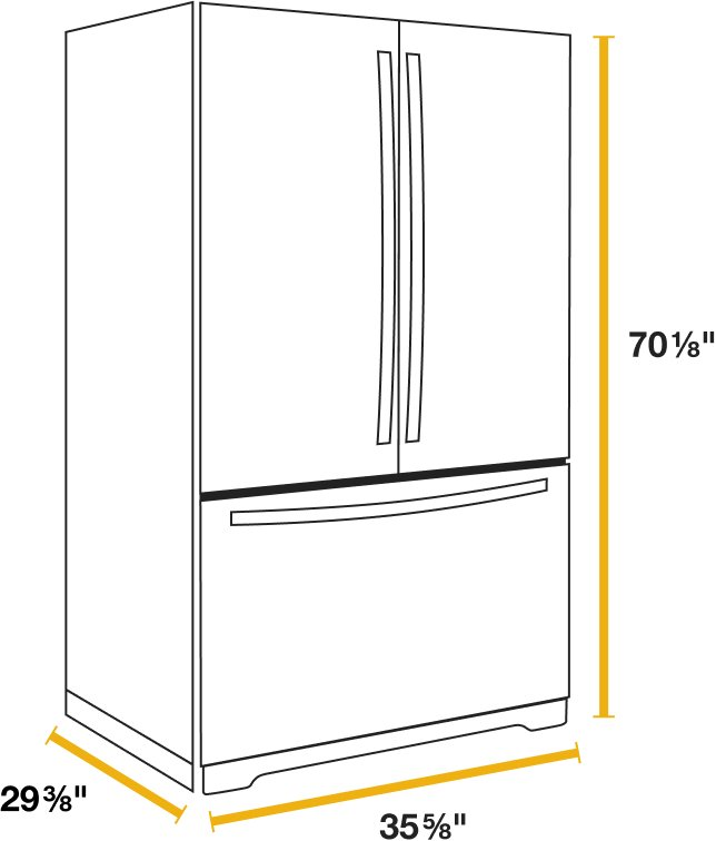 Diagram showing the dimensions of a counter-depth refrigerator
