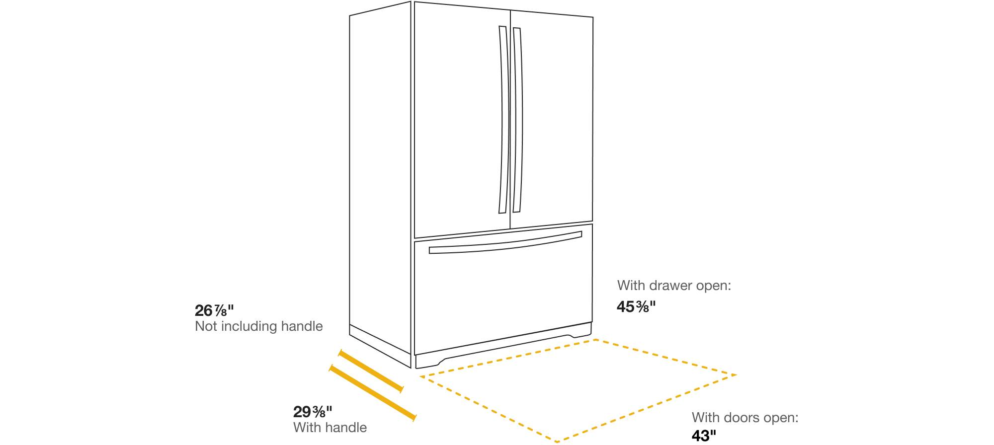 What's the standard refrigerator size? How to find the right refrigerator dimensions for your kitchen's depth.